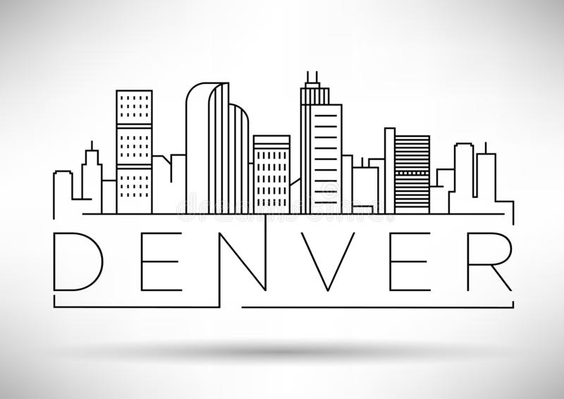 Minsta Denver Linear City Skyline med typografisk design stock illustrationer