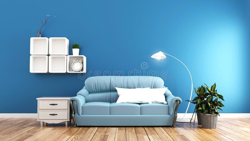 Minsta designer, vardagsrum som är inre med soffaväxter, och lampa på blå väggbakgrund framf?rande 3d vektor illustrationer