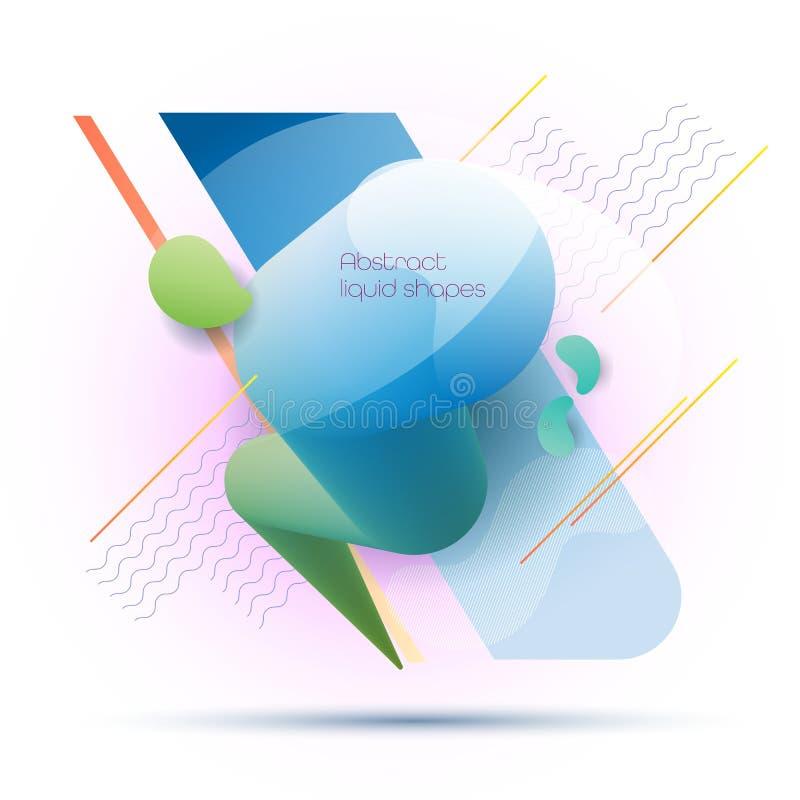 Minsta formvätska för abstrakt begrepp 3d och färgrik bakgrund för vätskelutning för orienteringen, baner, affisch, mall, reklamb royaltyfri illustrationer