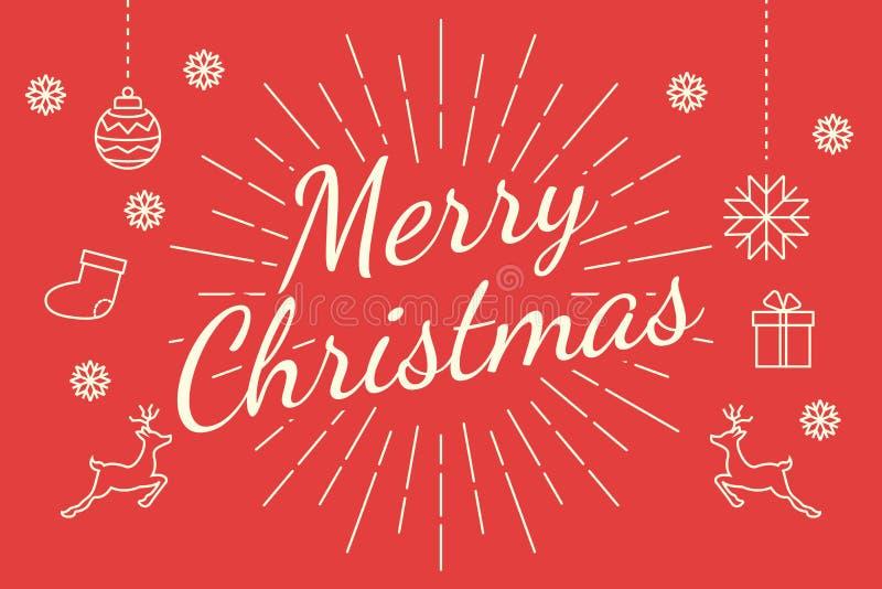 Minsta linje för glad jul stock illustrationer
