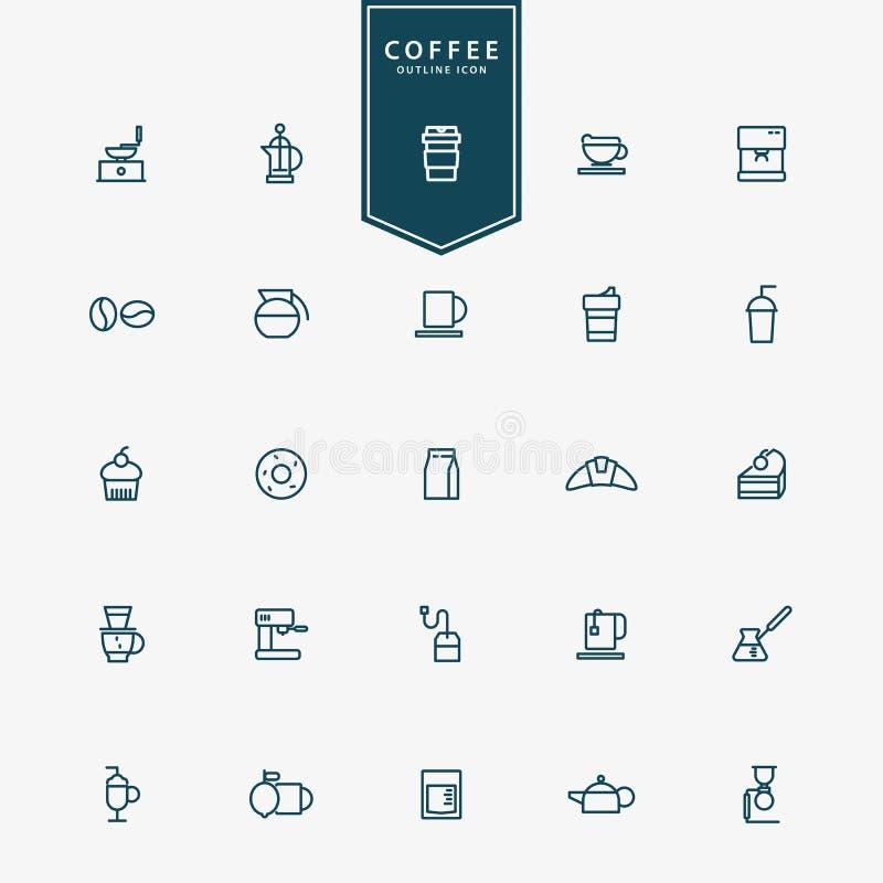 minsta linje symboler för kaffe 25 royaltyfri illustrationer
