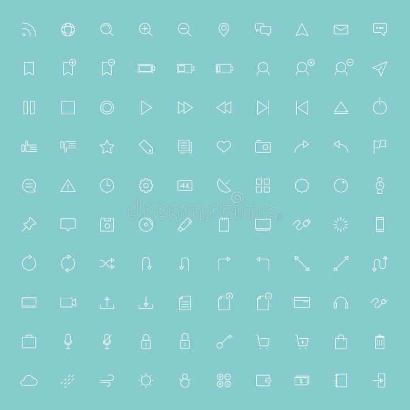 minsta linje symboler för rengöringsduk 100 vektor illustrationer