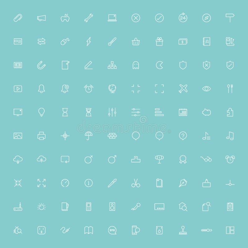 minsta linje symboler för rengöringsduk 100 stock illustrationer