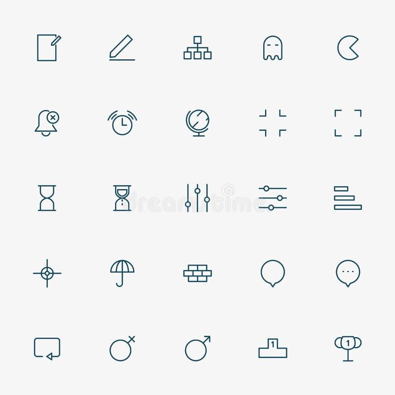 minsta linje symboler för rengöringsduk 25 stock illustrationer