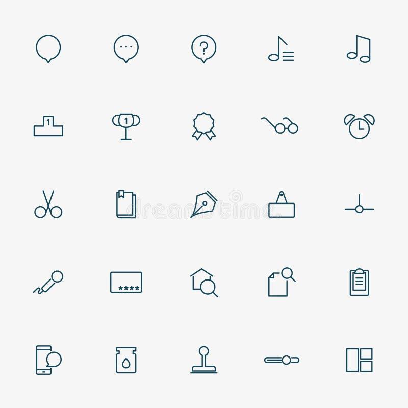 minsta linje symboler för rengöringsduk 25 på vit bakgrund stock illustrationer
