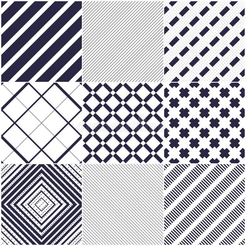 Minsta linjer sömlösa modeller för vektor ställde in, abstrakta bakgrunder royaltyfri illustrationer