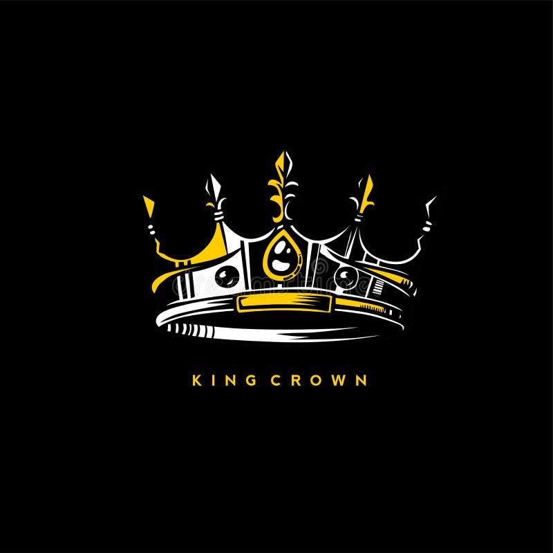 Minsta logo av illustrationen för konungkronavektor royaltyfri illustrationer
