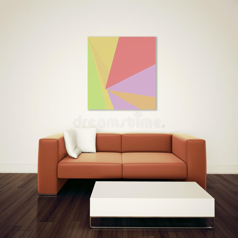 Minsta modern inre stol som vänder den blanka väggen mot stock illustrationer