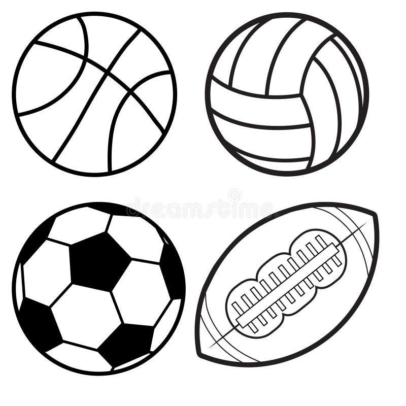 Minsta plan linje vektorsymbolsuppsättning för sportbollar Fotboll fotboll stock illustrationer