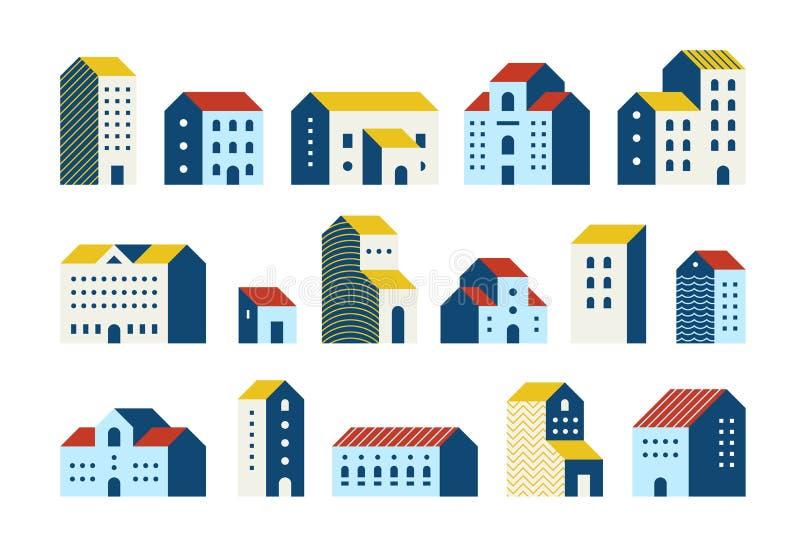 Minsta plana hus Enkel geometrisk byggnadstecknad filmuppsättning, stads- stadsradhusdiagram Minsta hus för vektor royaltyfri illustrationer