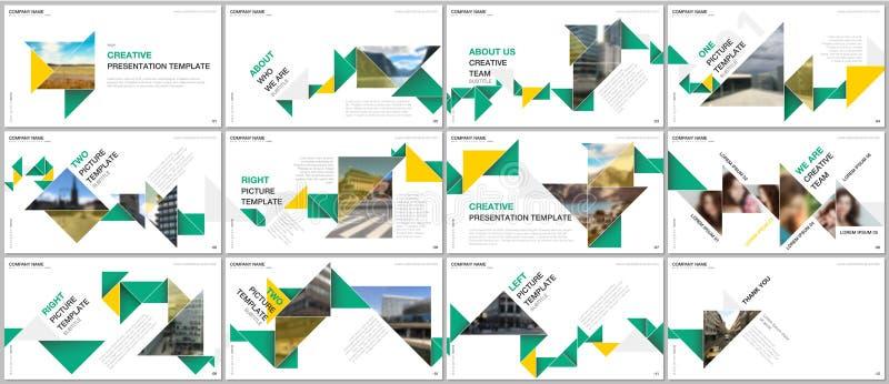Minsta presentationer planlägger, portföljvektormallar med färgrik triangelorigami skyler över brister beståndsdelar multipurpose royaltyfri illustrationer