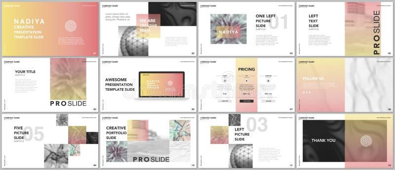 Minsta presentationer, portföljmallar Blåa beståndsdelar på en vit bakgrund Design för broschyrräkningsvektor Presentationsglidba stock illustrationer