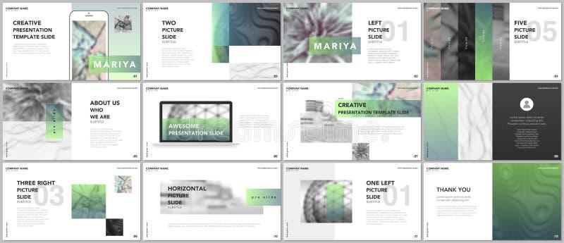 Minsta presentationer, portföljmallar Blåa beståndsdelar på en vit bakgrund Design för broschyrräkningsvektor Presentationsglidba vektor illustrationer
