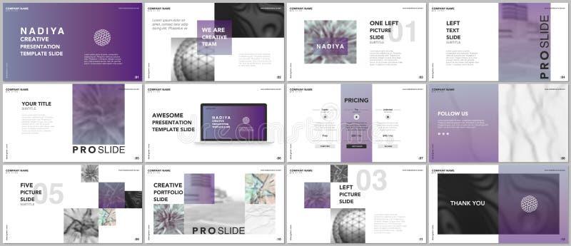 Minsta presentationer, portföljmallar Blåa beståndsdelar på en vit bakgrund Design för broschyrräkningsvektor Presentationsglidba royaltyfri illustrationer