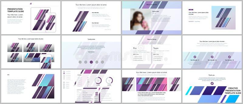 Minsta presentationer, portföljmallar Enkla beståndsdelar på vit bakgrund Design för broschyrräkningsvektor royaltyfri illustrationer