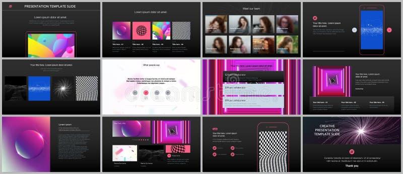 Minsta presentationer, portföljmallar med vibrerande färgrika lutningbakgrunder Design för broschyrräkningsvektor vektor illustrationer
