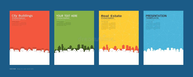 Minsta räkningar planlägger uppsättningen, stadsbyggnader och fastighetbegreppet, modern bakgrund för vektor royaltyfri illustrationer