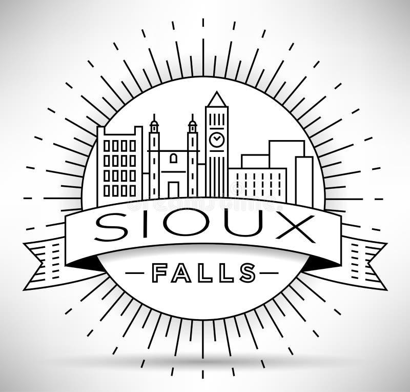 Minsta Sioux Falls Linear City Skyline med typografisk design vektor illustrationer