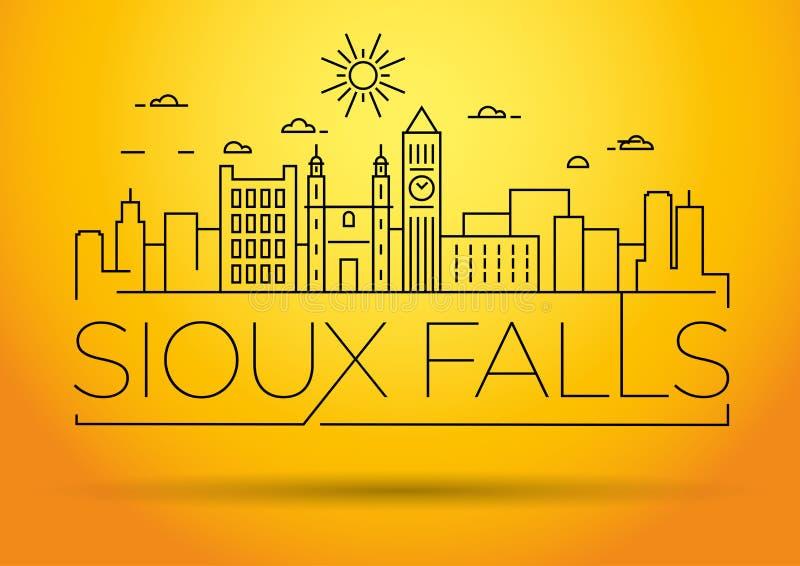Minsta Sioux Falls Linear City Skyline med typografisk design royaltyfri illustrationer
