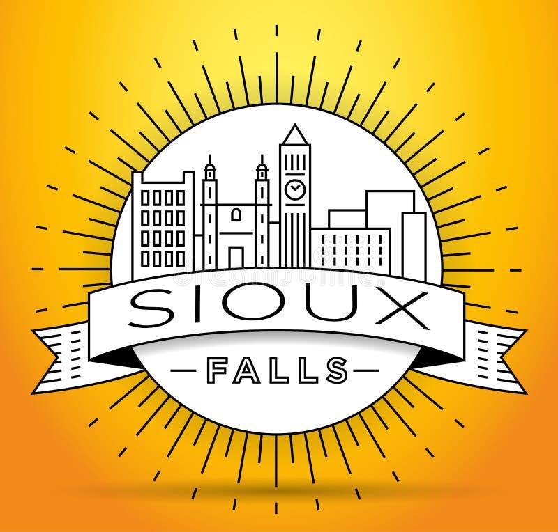 Minsta Sioux Falls Linear City Skyline med typografisk design stock illustrationer