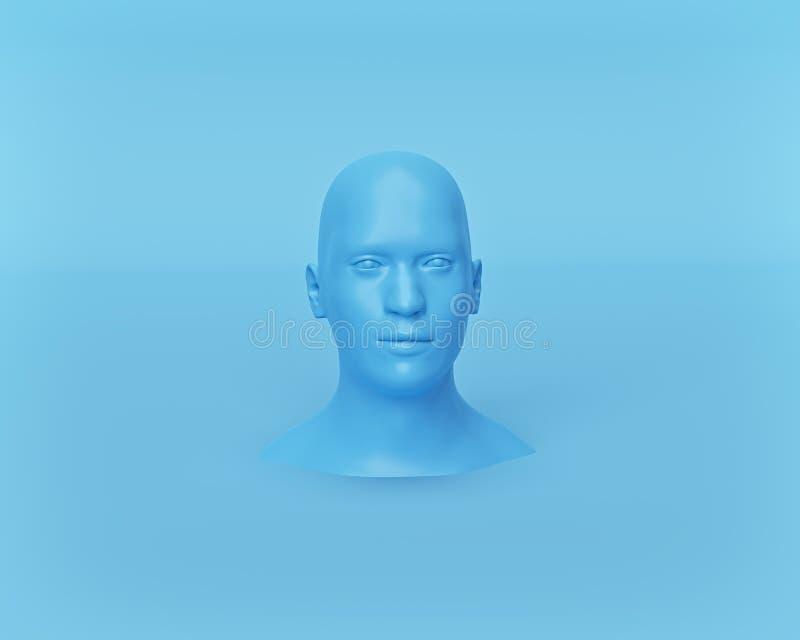 Minsta skyltdockahuvud på pastellfärgad blå bakgrund framf?rande 3d vektor illustrationer