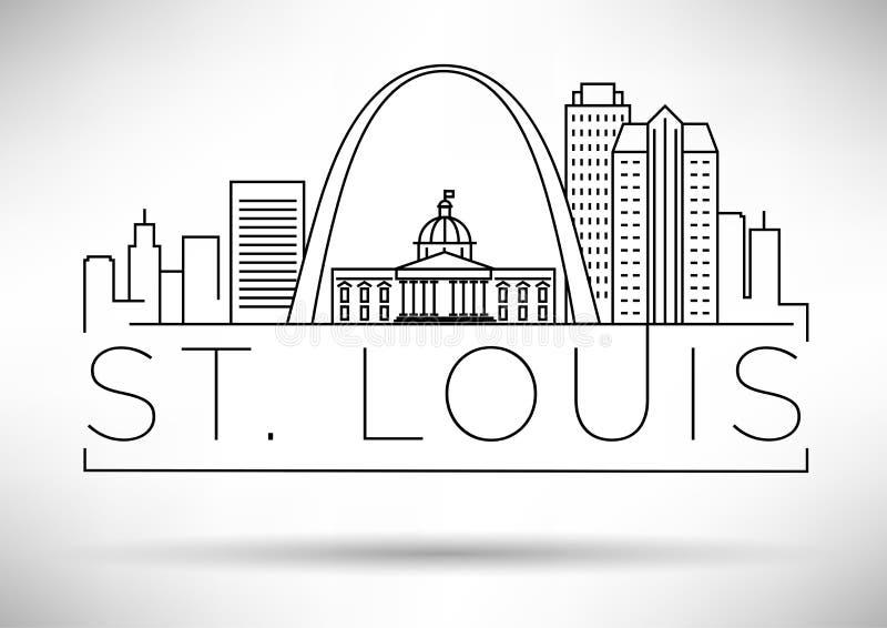 Minsta St Louis Linear City Skyline med typografisk design royaltyfri illustrationer