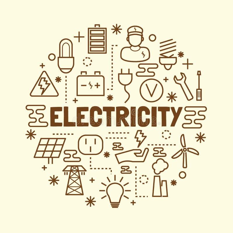 Minsta tunn linje symbolsuppsättning för elektricitet stock illustrationer