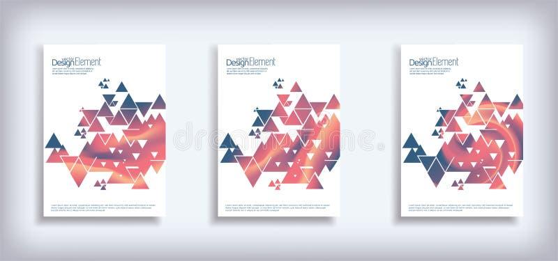 Minsta uppsättning för vektorräkningsdesign med abstrakta trianglar Moderna rastrerade lutningar vektor illustrationer