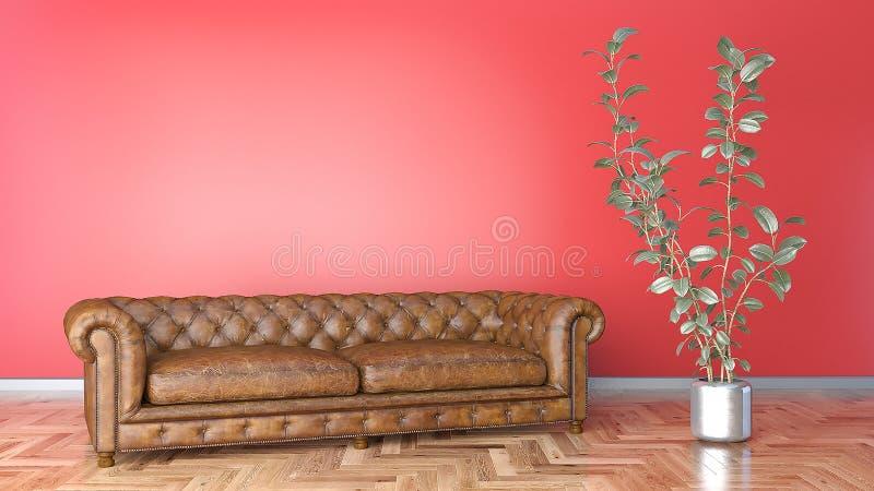 Minsta vardagsrum med brunt piskar soffan och den röda illustrationen för vägg 3D royaltyfria bilder