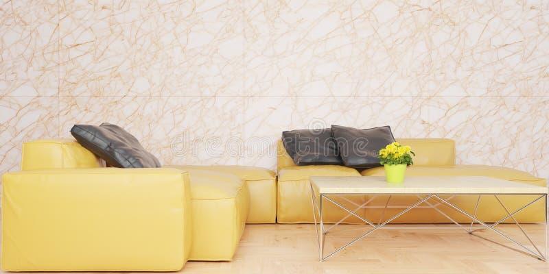 Minsta vardagsrum med den gula lädersoffauppsättningen och illustrationen för marmorvägg 3D arkivbild