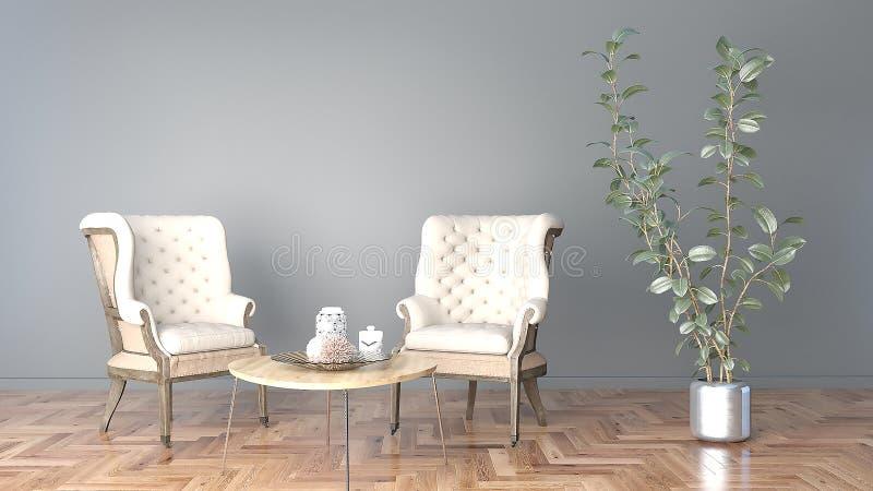 Minsta vardagsrum med den svarta väggen och stol två och en stor illustration för växt 3D fotografering för bildbyråer