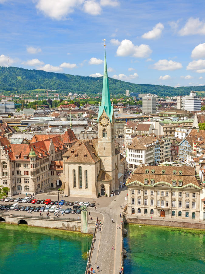 Minster Fraumunster with city center of Zurich, Switzerland - aerial view royalty free stock image