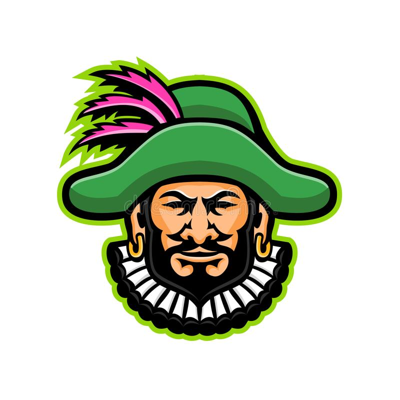 Minstrel Mascot. Mascot icon illustration of head of a minstrel, medieval specialist entertainer, singer or musician wearing a hat with feathers viewed from vector illustration