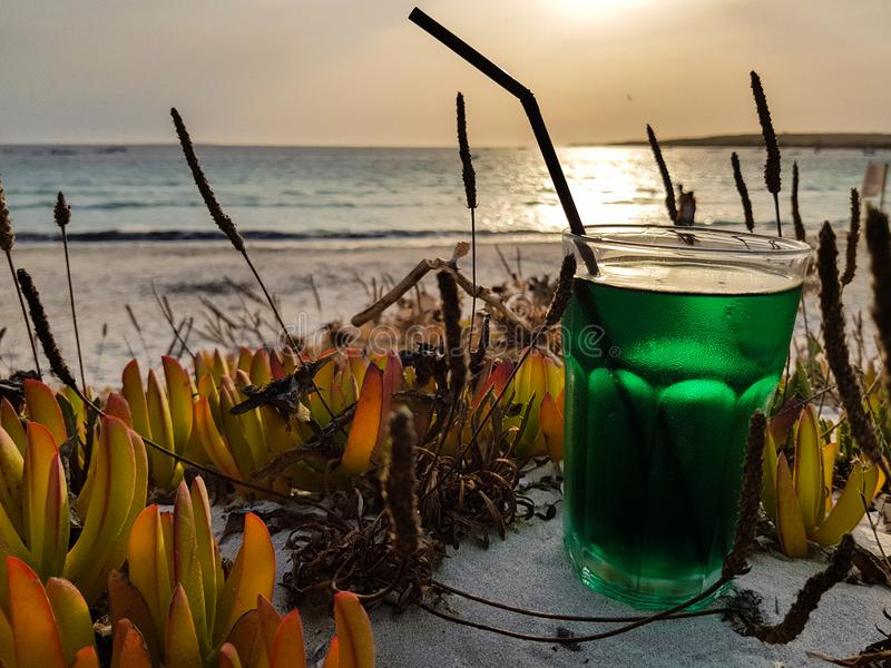 Summer cocktail on the beach at sunset. Mint-based cocktail ready to be sipped by the sea stock photography