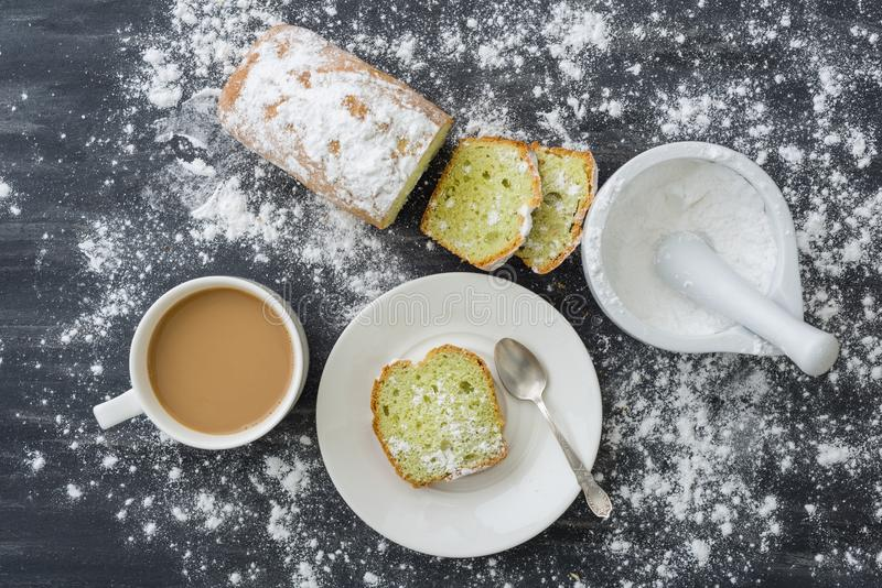 Mint cake with cup of coffee stock photography