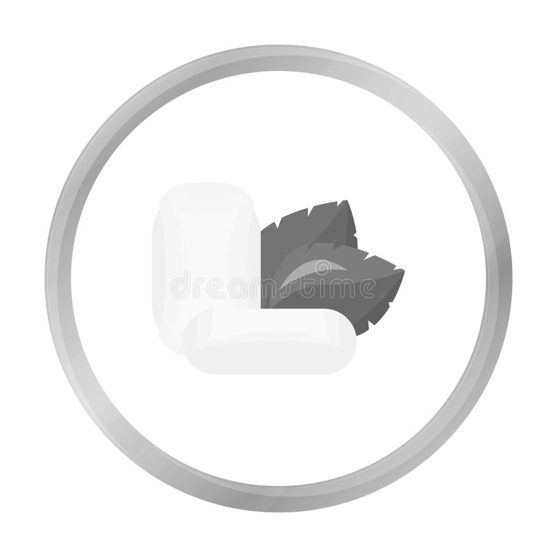 Mint chewing gum icon in monochrome style isolated on white background. Dental care symbol. stock illustration