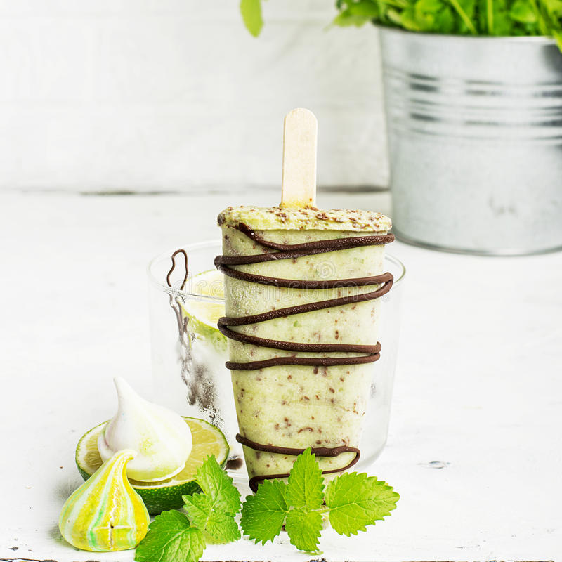 Mint chocolate home ice cream with dark thick chocolate icing on a light background in a glass with ice. Selective focus stock images