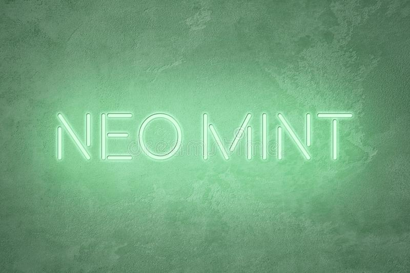Mint colored neon sign lettering on abstract textured background. Trendy mint colored neon sign glowing lettering on abstract textured background. Color trend royalty free illustration