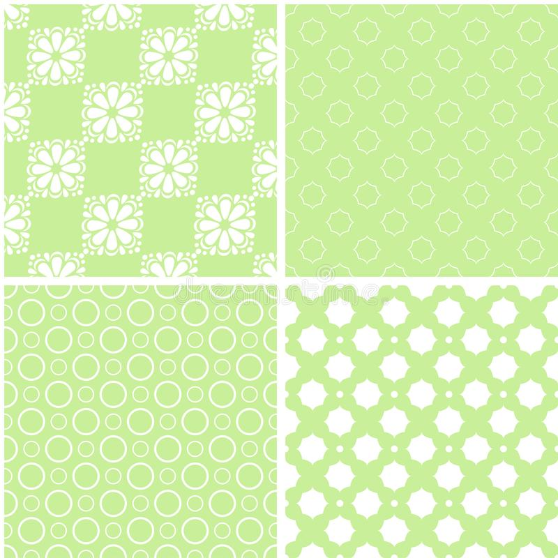 Mint different vector seamless patterns stock image