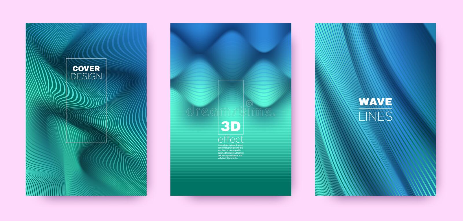 Mint Flow Banner. Abstract Covers Set. Business. Lines Pattern. 3d Geometric Background. Flow Vibrant Lines. Dynamic Covers Set. Turquoise Design Poster. Teal royalty free illustration