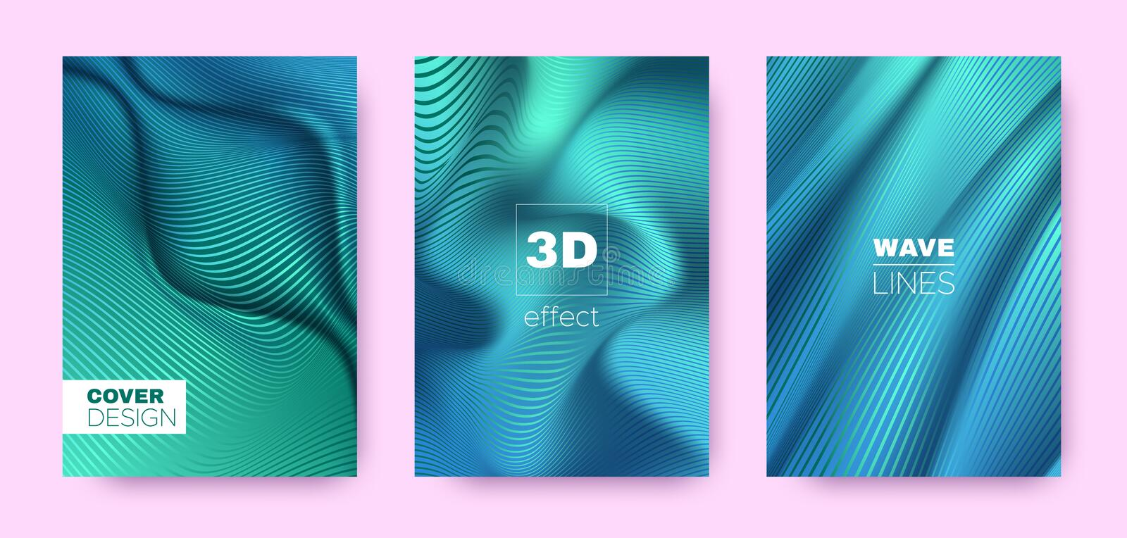 Mint Flow Banner. Modern Covers Set. Dynamic. Lines Pattern. 3d Geometric Illustration. Flow Lines Pattern. Movement Covers Set. Turquoise Vector Banner. Green royalty free illustration