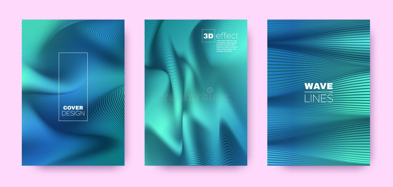 Mint Flow Poster. Vector Covers Set. Business. Distorted Lines. 3d Geometric Background. Flow Vibrant Lines. Dynamic Covers Set. Teal Minimal Poster. Teal Flow stock illustration