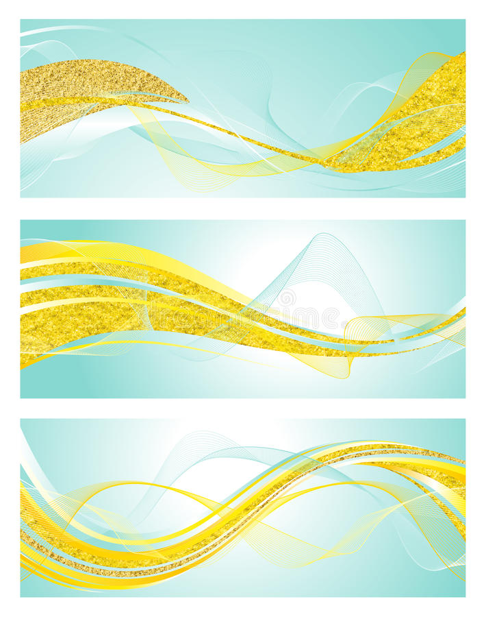 Mint And Gold Banner Templates. Set of 3 horizontal banner templates in mint, white and gold vector illustration