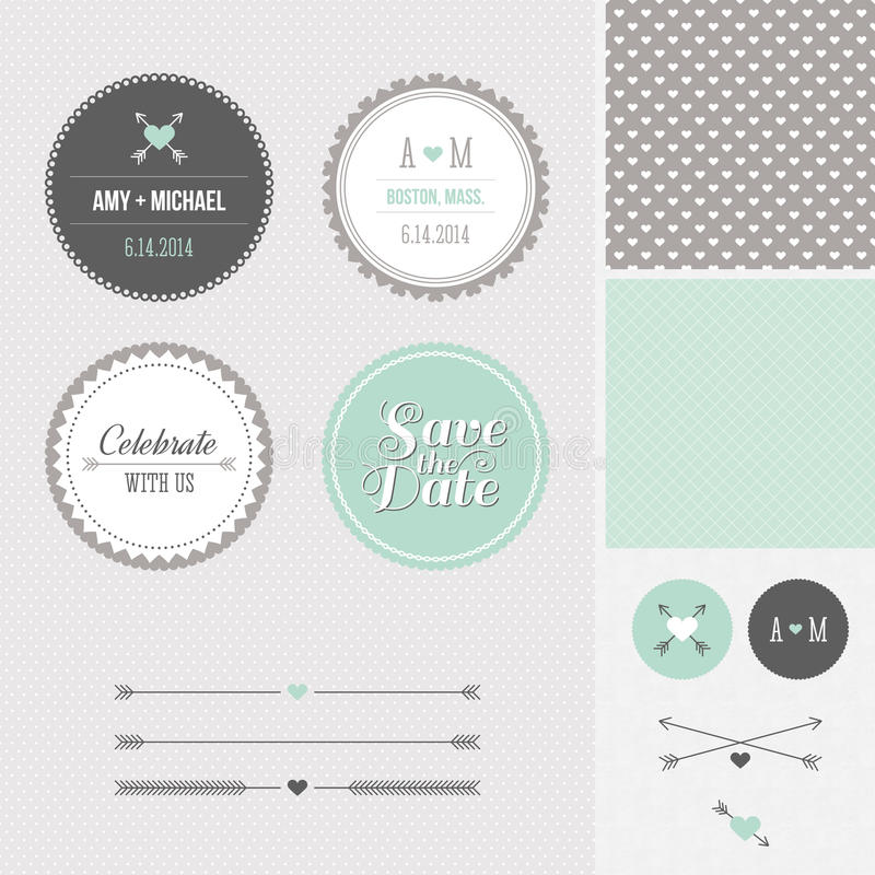 Download Mint + Gray Save The Date Wedding Graphic Set Stock Vector - Image: 28403813