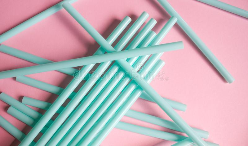 Mint green straws stock photography
