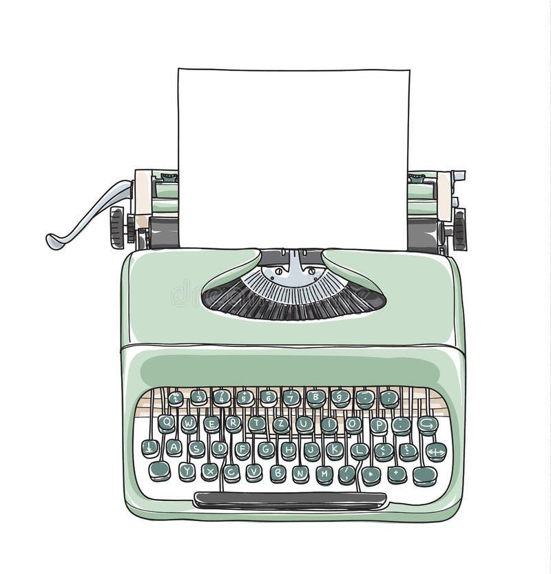 Mint green vintage typewriter portable retro with paper. Hand drawn vector art illustration vector illustration
