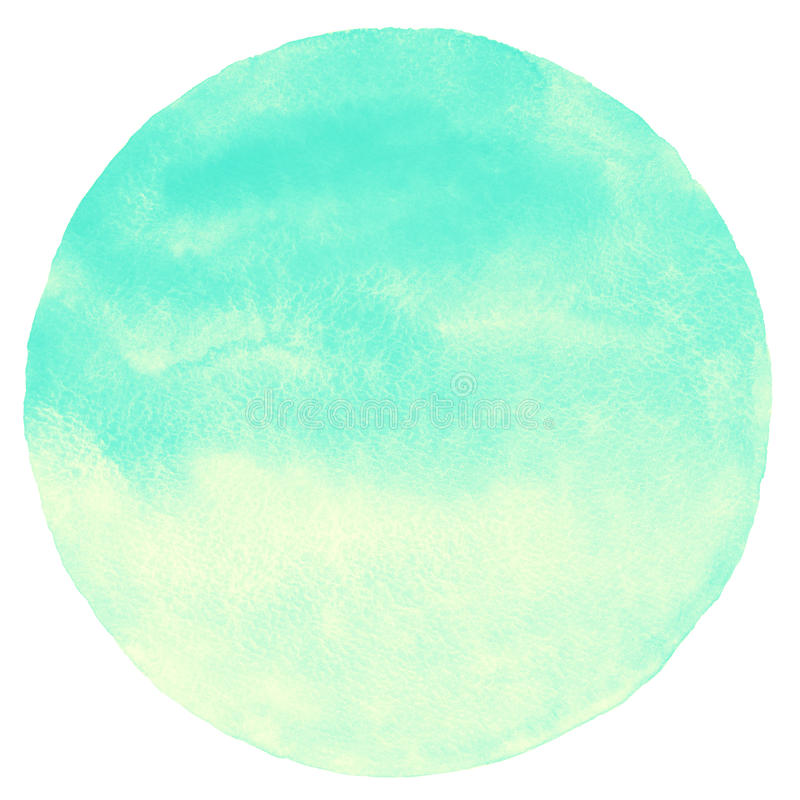 Mint green and yellow gradient watercolor circle. Isolated on white. Summer, holiday abstract round background. Watercolour stains texture vector illustration