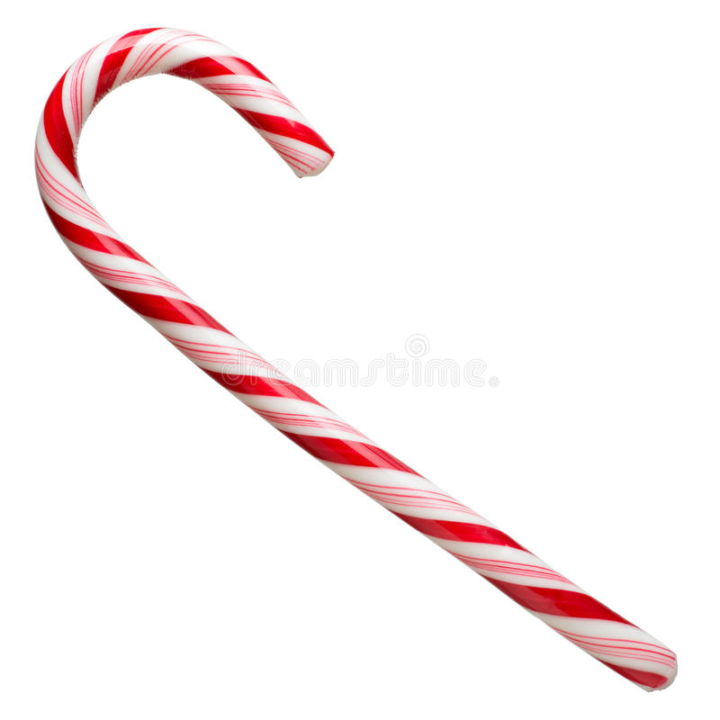 Mint hard candy cane striped in Christmas colours isolated on a white background. Closeup.  stock photo