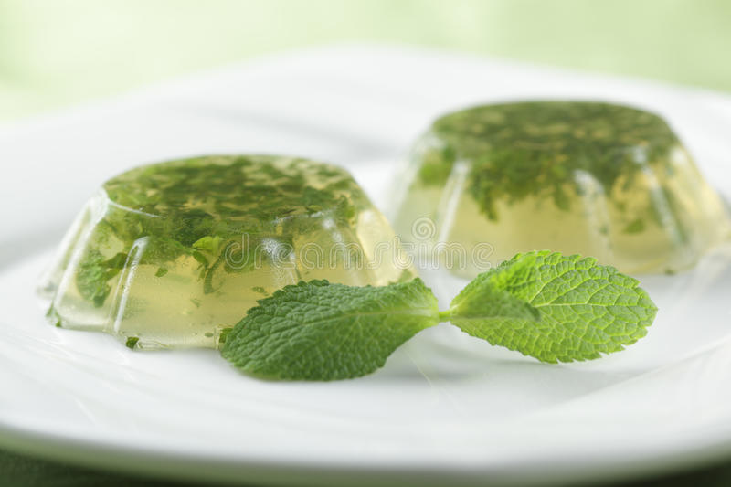 Mint jelly. On the plate with fresh leaf of peppermint. Shallow DOF royalty free stock photos
