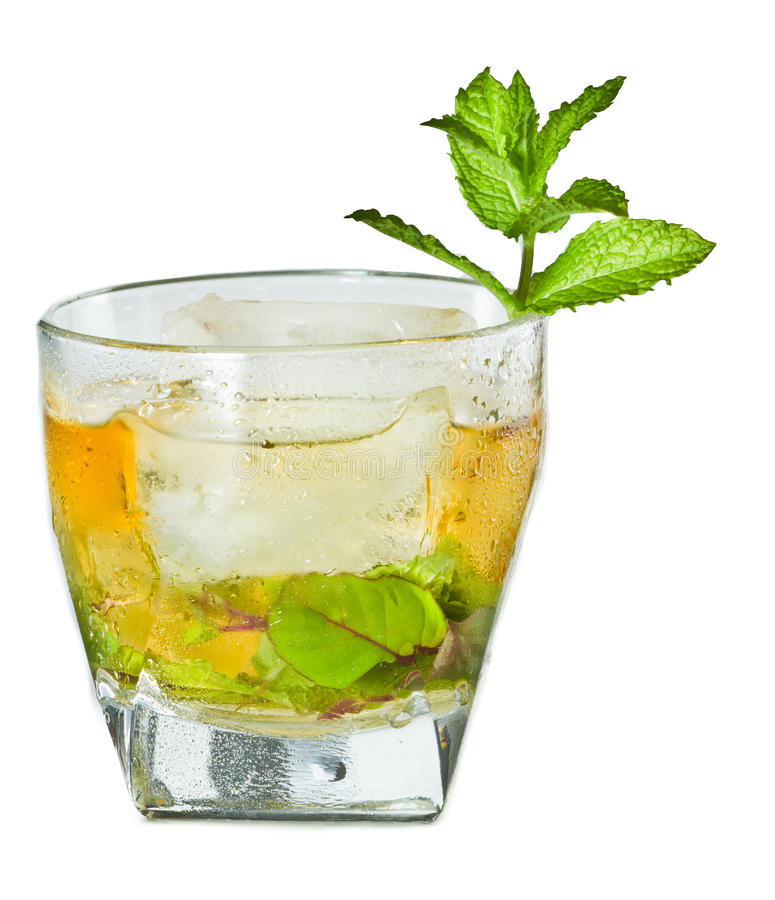 Mint julep. Classic Kentucky derby cocktail the mint julep isolated on a white background royalty free stock photography
